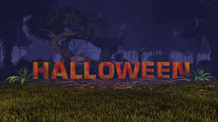 3D Halloween text in the scary dark forest