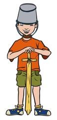Little warrior with wooden sword