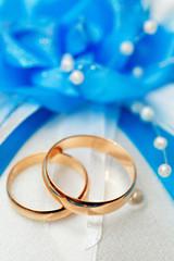 Wedding gold ring, decorations for a wedding celebration.