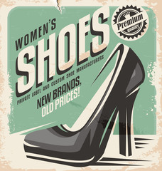 Retro shoes store promotional poster design