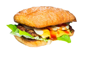 Homemade burger isolated on white