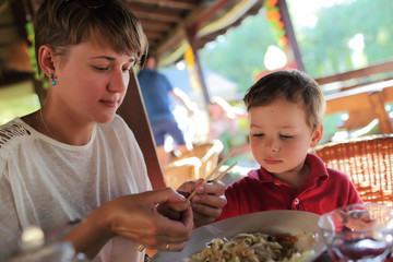 Family in the asian restaurant