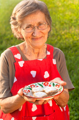cute grandmother holding a plate with apple pie
