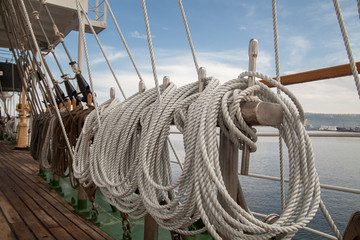ropes on an old vessel, sailing