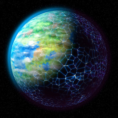Network on planet generated texture background