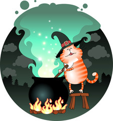 Illustration of funny cat сooks a potion in a cauldro