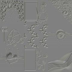 Set of metal relief generated textures