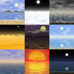 Set of abstract landscape generated backgrounds