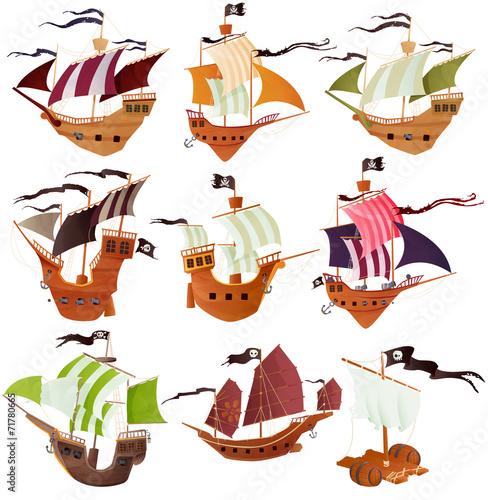 collection de bateaux pirates pour enfant