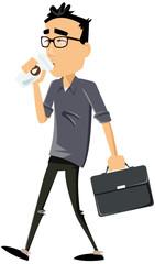 homme moderne sur le trajet du travail