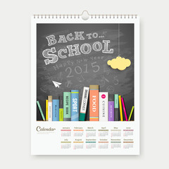Calendar 2015 back to school with books concept