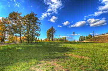 Autumn park and a beautiful sky