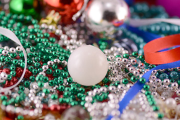 white christmas balls with diamonds set, new year decoration
