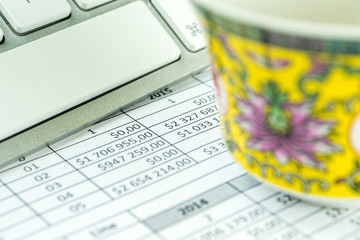 business concept, keypad, financial plan and tea on the table