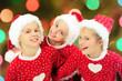 Portrait of happy little christmas girls