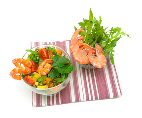 fresh vegetable salad with shrimp on a white background