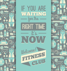Fitness Icons background with typography.