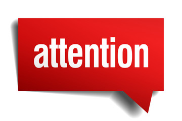 attention red 3d realistic paper speech bubble