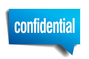 confidential blue 3d realistic paper speech bubble