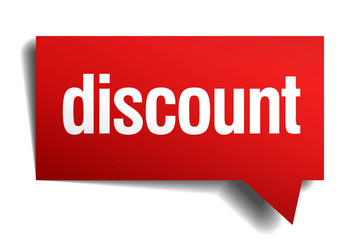 discount red 3d realistic paper speech bubble