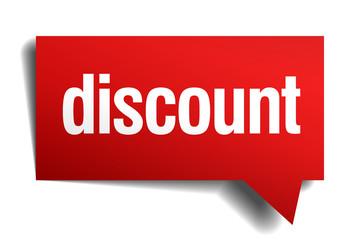 discount red 3d realistic paper speech bubble