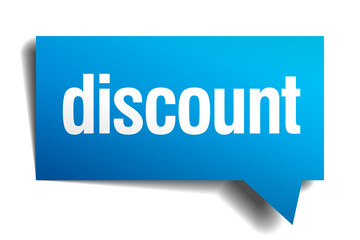 discount blue 3d realistic paper speech bubble