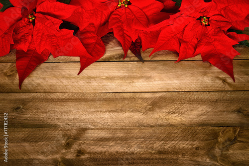 canvas print picture Hintergrund aus Holz und Weihnachtsstern