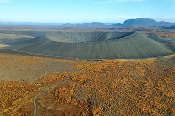 Aerial view of Hverfjall crater