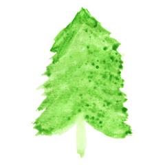 Abstract vector watercolor fir-tree