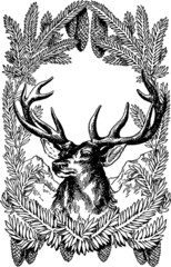 Vintage image Christmas Deer in Frame