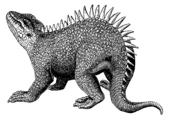 Vintage illustration dinosaur reptile