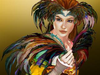 Feathered Girl, 3d CG