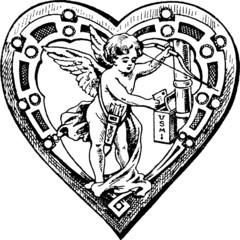Vintage illustration Cupid valentine