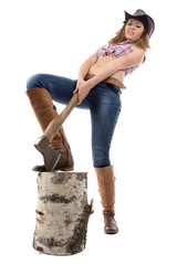 Photo of young woman chops wood
