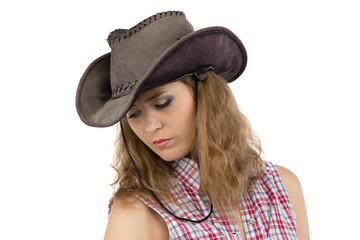 Photo of sad cowgirl