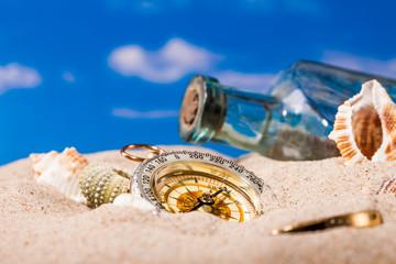 Sea Hedgehog shells  and compass on  sand and blue sky