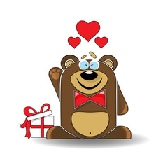 Valentine card with bear with hearts.