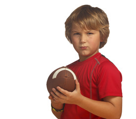 Boy in red with football, isolated over white