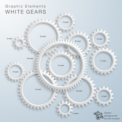 Vector Graphic Elements #White Gears, 12-60 teeth