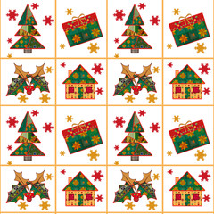 Christmas seamless pattern in the style of patchwork texture bac