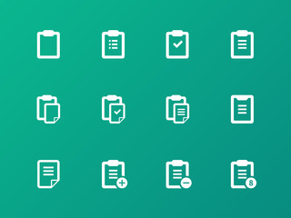 Clipboard icons on green background.