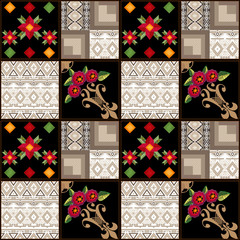 Patchwork seamless pattern geometric elements background