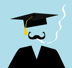 man wearing graduation cap and smoking