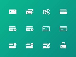 Credit card icons on green background.