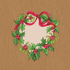 Christmas Card with Wrath on a wooden background
