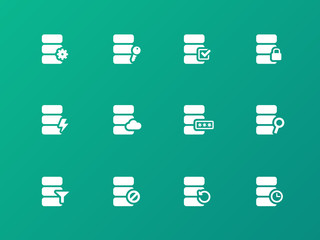 Database icons on green background.