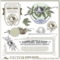 hand drawn label, sticker & vignetten on the theme of horse raci