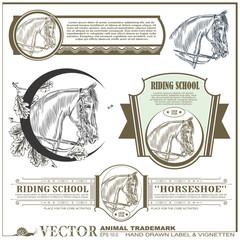 hand drawn label, sticker & vignetten on the theme of horse
