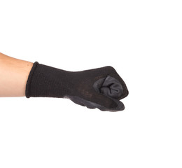Strong male worker hand glove clenching fist
