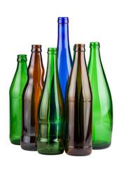 Six empty unlabeled bottles